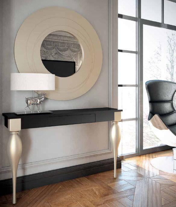 Konsolentisch Spiegelglas.Klassischer Konsolentisch Holz Rechteckig Mit Spiegel