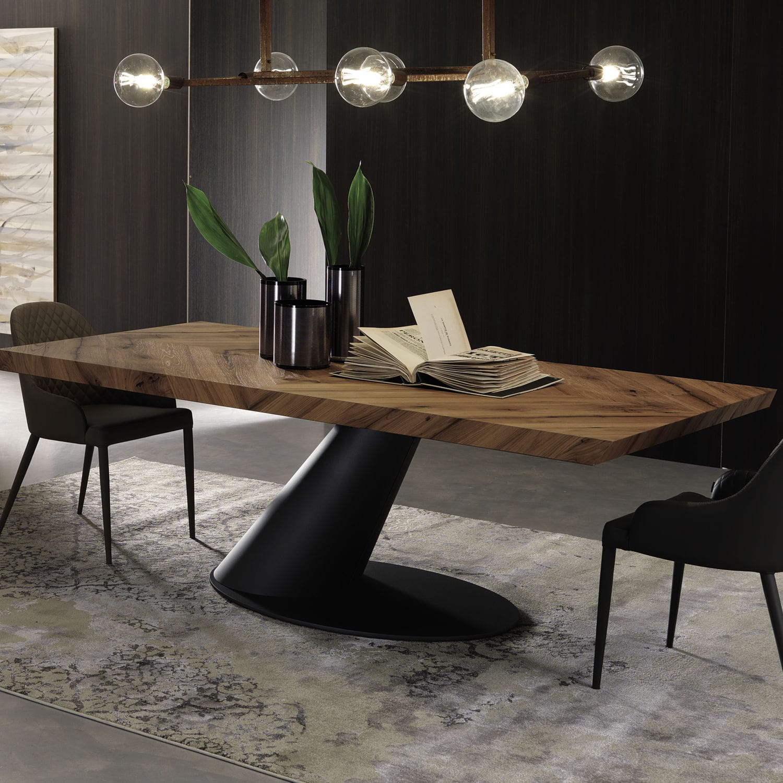 Moderner Esstisch   THOR FISSO   OZZIO ITALIA   Holz / mit Fußgestell aus Stahl / rechteckig