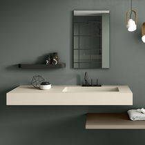 Wand-Waschbecken / 1-Loch / ohne Notüberlauf / rechteckig