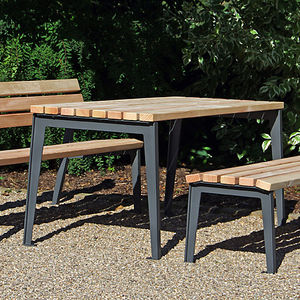 moderner Picknicktisch / Holz / Gusseisen / rechteckig