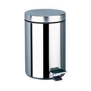 hygienischer Abfallbehälter / polierter Edelstahl / Objektmöbel / pedalbetrieben