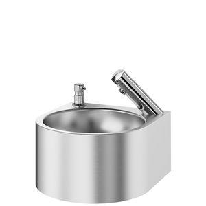 Wand-Handwaschbecken / rund / Edelstahl / Objektmöbel