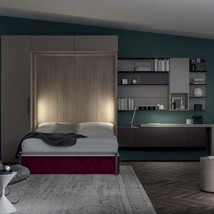 Schrankbett / Doppelbett / modern / mit Stauraum