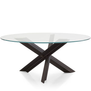 moderner Tisch / Stahl / Edelstahl / mit Fußgestell aus Stahl