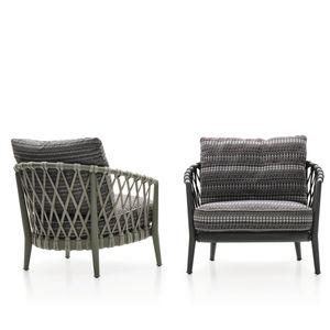 moderner Sessel / Stoff / Aluminiumguss / Kordel