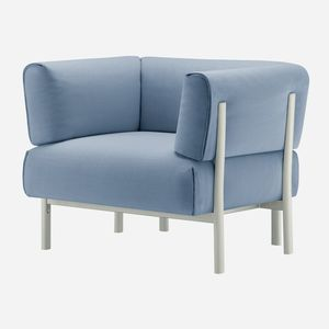 moderner Sessel / Stoff / Leder / Aluminiumguss