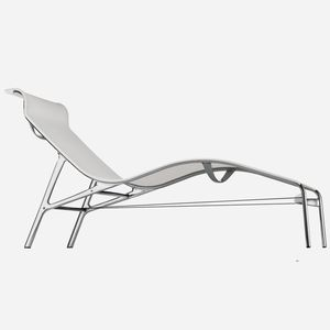 moderne Sonnenliege / Aluminiumguss / Leder / PVC