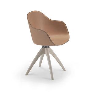 moderner Stuhl / zentrales Fußgestell / mit Armlehnen / Polster