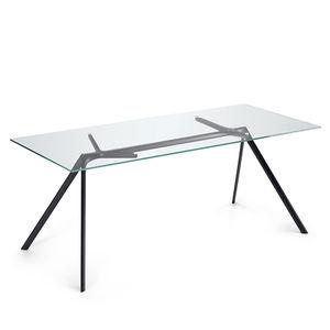 moderner Tisch / Glas / mit Fußgestell aus Aluminium / rechteckig
