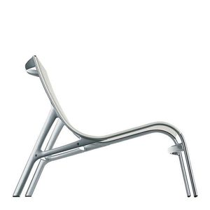 moderner Kaminsessel / Aluminium / Polyesternetz / weiß
