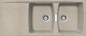 Doppelbeckenspüle / Granit / einbaufähig / Abtropfflächen