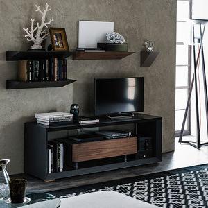 modernes Fernsehmöbel / lowboard / aus Nussbaum