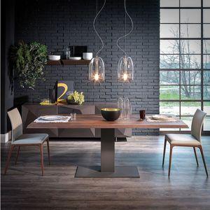 moderner Tisch / aus Eiche / aus Nussbaum / mit Fußgestell aus rostfreiem Edelstahl