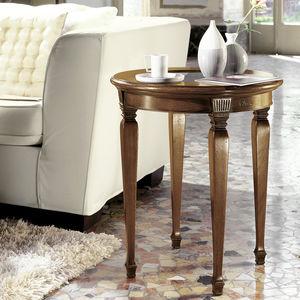 klassischer Beistelltisch / Holz / Glas / mit Fußgestell aus Holz