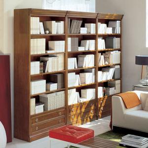 Modul-Bibliothek / klassisch / Massivholz / Glas-