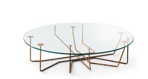 Couchtisch / originelles Design / Glas / Hartglas / Messing