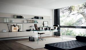 Aluminium-Schreibtisch / Edelstahl / Glas / modern