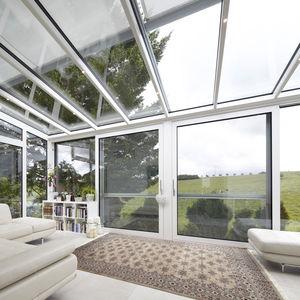 Schiebe-Glaswand / Aluminium / Doppelverglasung / wärmeisoliert