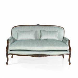 Sofa / französischer Stil / Stoff / Leder / aus Eiche