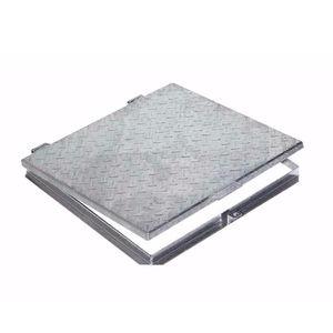 Schachtdeckel / verzinkter Stahl / quadratisch / mit integriertem Deckel