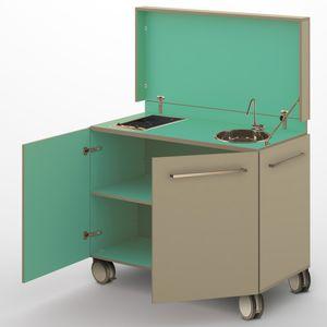 moderne Küche / Laminat / kompakt / Garten