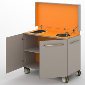 kompakte Kochnische / Laminat / mit Griffen / einziehbaren Türen