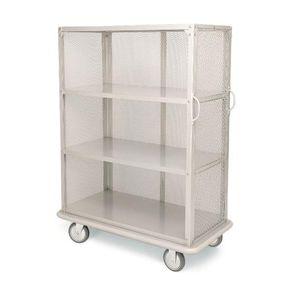 Wäschewagen / Objektmöbel / für Hotels / gebürsteter Edelstahl