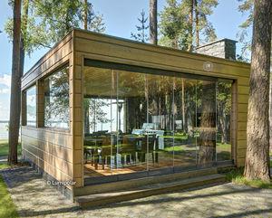 Fertigbau-Gebäude / Brettschichtholz / Holzkonstruktion / Objektmöbel