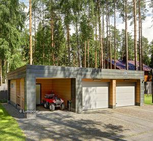 Fertigbau-Gebäude / Brettschichtholz / Holzkonstruktion / für Garagen