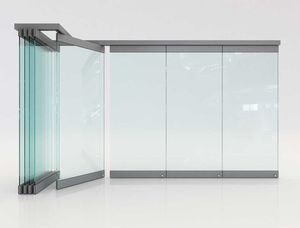 Falttrennwand / Aluminium / Glas / zur beruflichen Nutzung