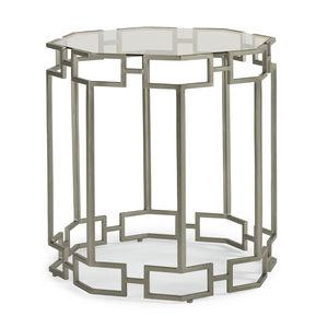 klassischer Beistelltisch / Glas / mit Fußgestell aus lackiertem Metall / achteckig