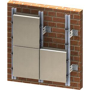 Hinterlüftete Fassade / Metall / in Plattenform / glatt / mit Befestigungselementen