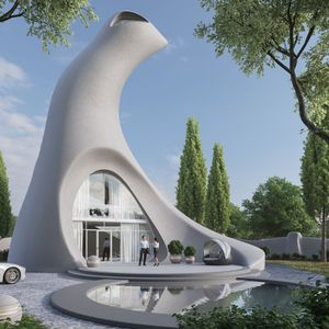 individuelles Haus / originelles Design / Beton / Öko