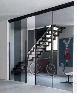 Tür für Innenbereich / Schiebe / mit Sicherheitsglas / Aluminium