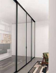 Schiebetrennwand / Aluminium / verglast / Büro
