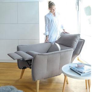 schrägstellbarer Sessel / skandinavisches Design / Stoff / Leder