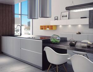 moderne Küche / aus MDF / Polymer / Kochinsel