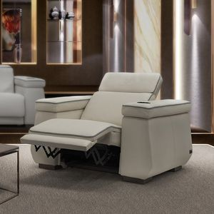 moderner Sessel / Leder / mit Fußstütze / schrägstellbar
