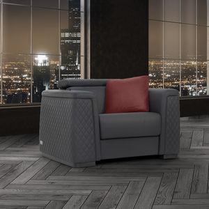 moderner Sessel / Leder / Holz / mit Fußstütze