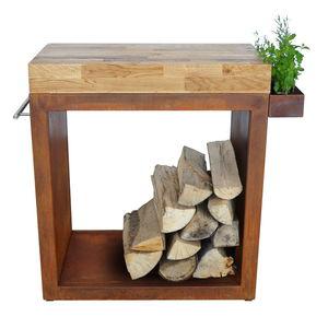 Holzarbeitsplatte / Stahl / für Küchen / Garten