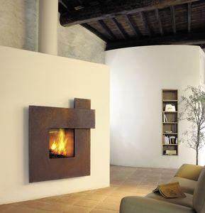Gaskamin / Holz / originelles Design / geschlossene Feuerstelle