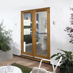 einflügelige Fenstertür / aus Eiche / Aluminium / Doppelverglasung