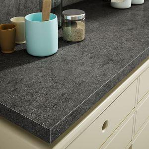 Feinsteinzeug-Arbeitsplatte / für Küchen / schwarz / grau