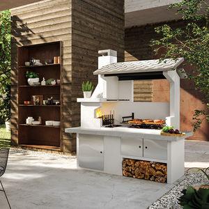 Holzkohle-Gartengrill / Holz / festinstalliert / Beton