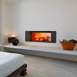Holzkamin / modern / geschlossene Feuerstelle / 2-seitig