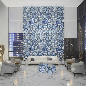 Schiefersteinplatte / poliert / für Innenausbau / blau