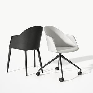 Kufen-Besucherstuhl / modern / mit Armlehnen / Polster