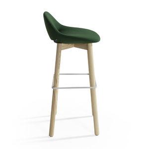 moderner Barhocker / Holz / Leder / Stahl