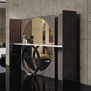 moderner Konsolentisch / Holz / Marmor / Leder