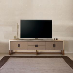 modernes Fernsehmöbel / lowboard / hochglanzlackiertes Holz / Glas